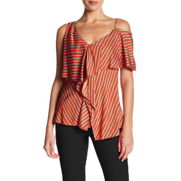 fb00532923074 Diane von Furstenberg Tops   Dvf Bodin Stripe Silk Ruffle ...